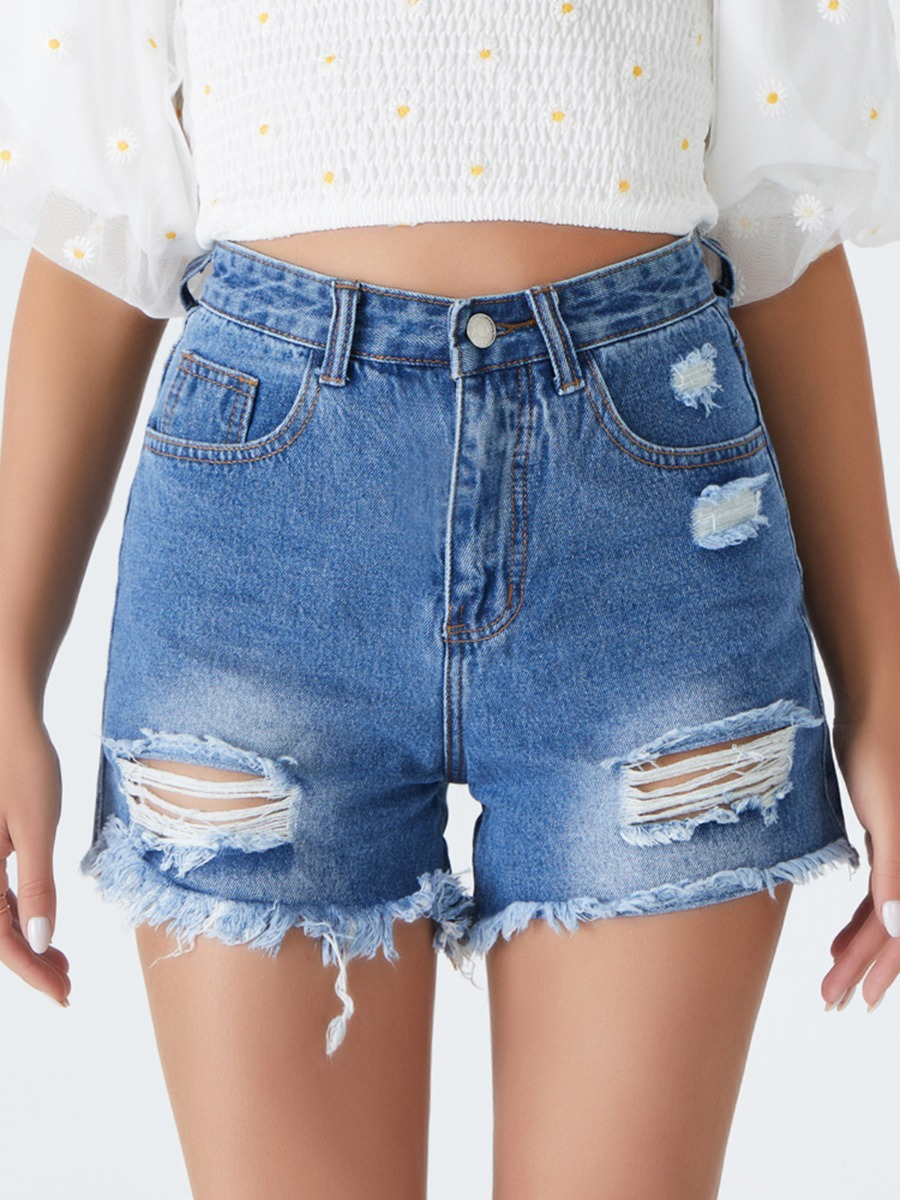 Women Ripped Raw Trimmed Denim Shorts