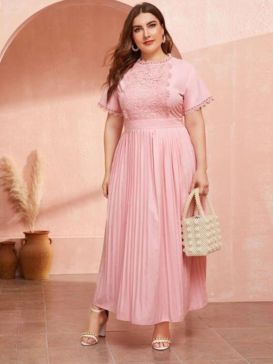 shestar wholesale Plus-Size Dresses Lace Panel TightWaist Pink Pleated Maxi Dress