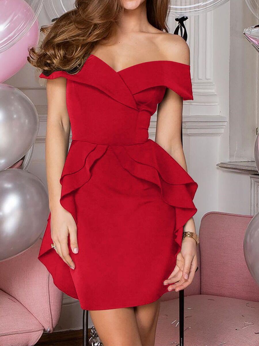 shestar wholesale Spring Solid Color Ruffle Off-shoulder Dress