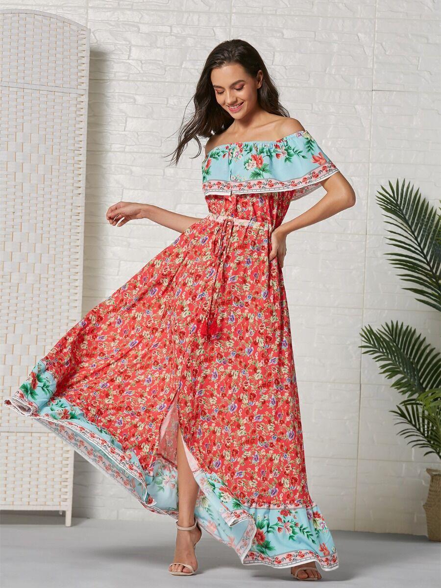 shestar wholesale bohemia style flower vintage dress