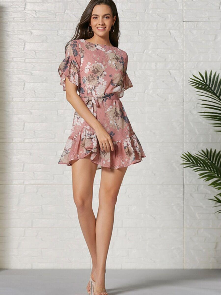 shestar wholesale summer flutter sleeve floral dress