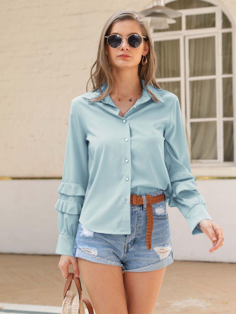 shestar wholesale ruffle sleeve turn down collar shirt
