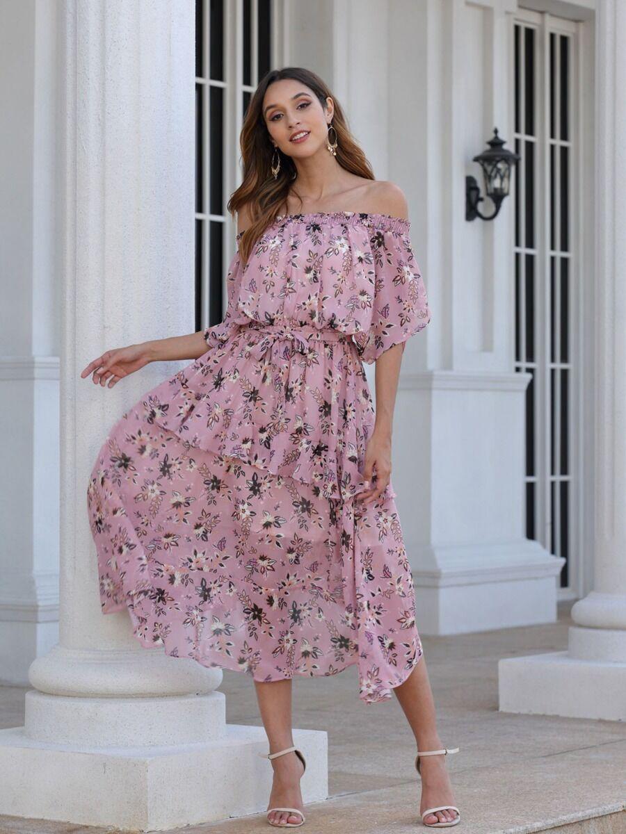 shestar wholesale off-shoulder floral patchwork dress