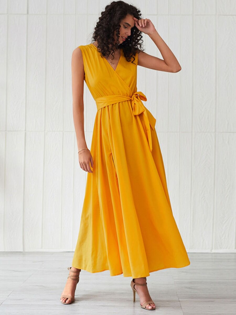 shestar wholesale Stylish Belted V-neck Sleeveless Dress