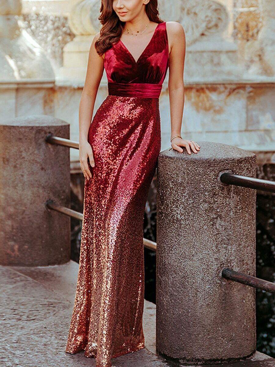 shestar wholesale v-neck sequins stitching gradient evening dress
