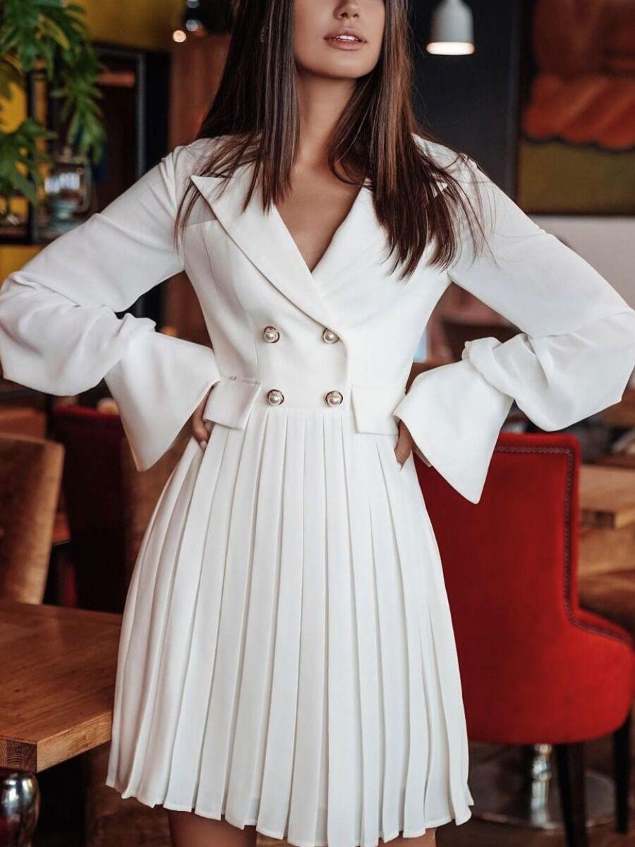 shestar wholesale Patchwork Double Button Pleated Dress