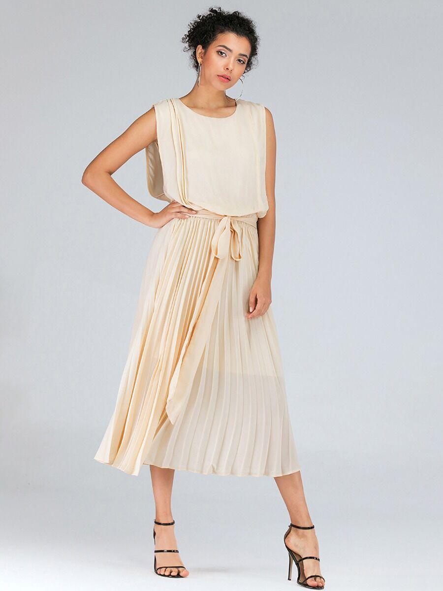 shestar wholesale Tie Waist Sloid Color Chiffon Dress