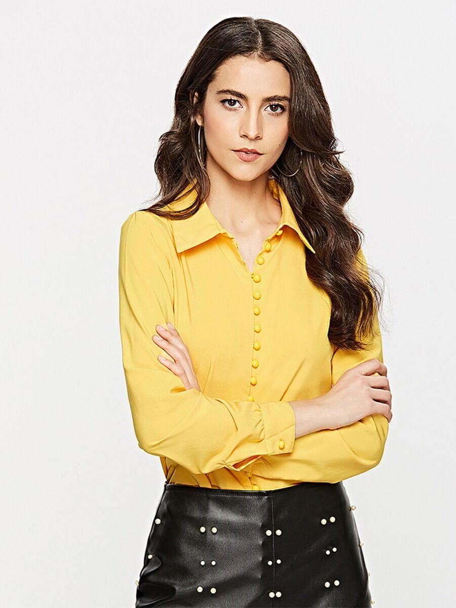 shestar wholesale solid color lapel button front women shirt