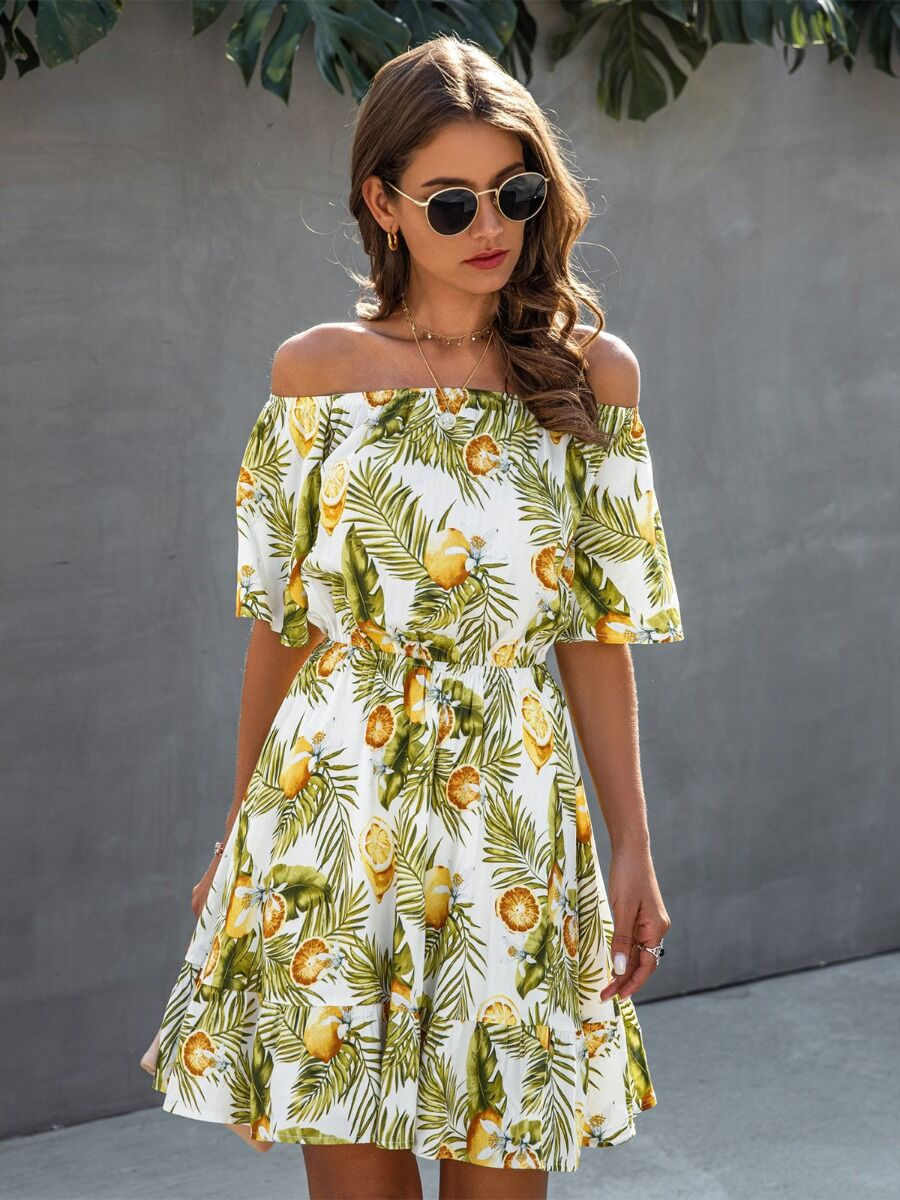 shestar wholesale summer lemon leaf print flounce dress
