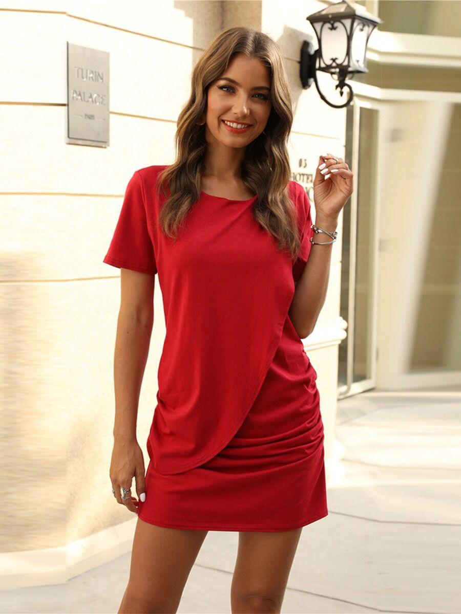 shestar wholesale Solid Color Drawstring Ruched Dress
