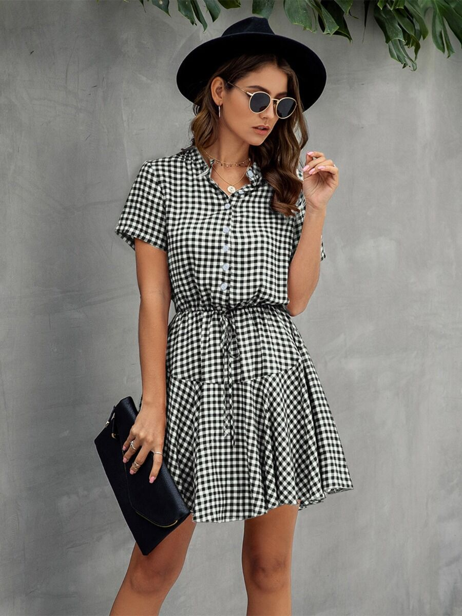 shestar wholesale single breasted plaid shirt dress