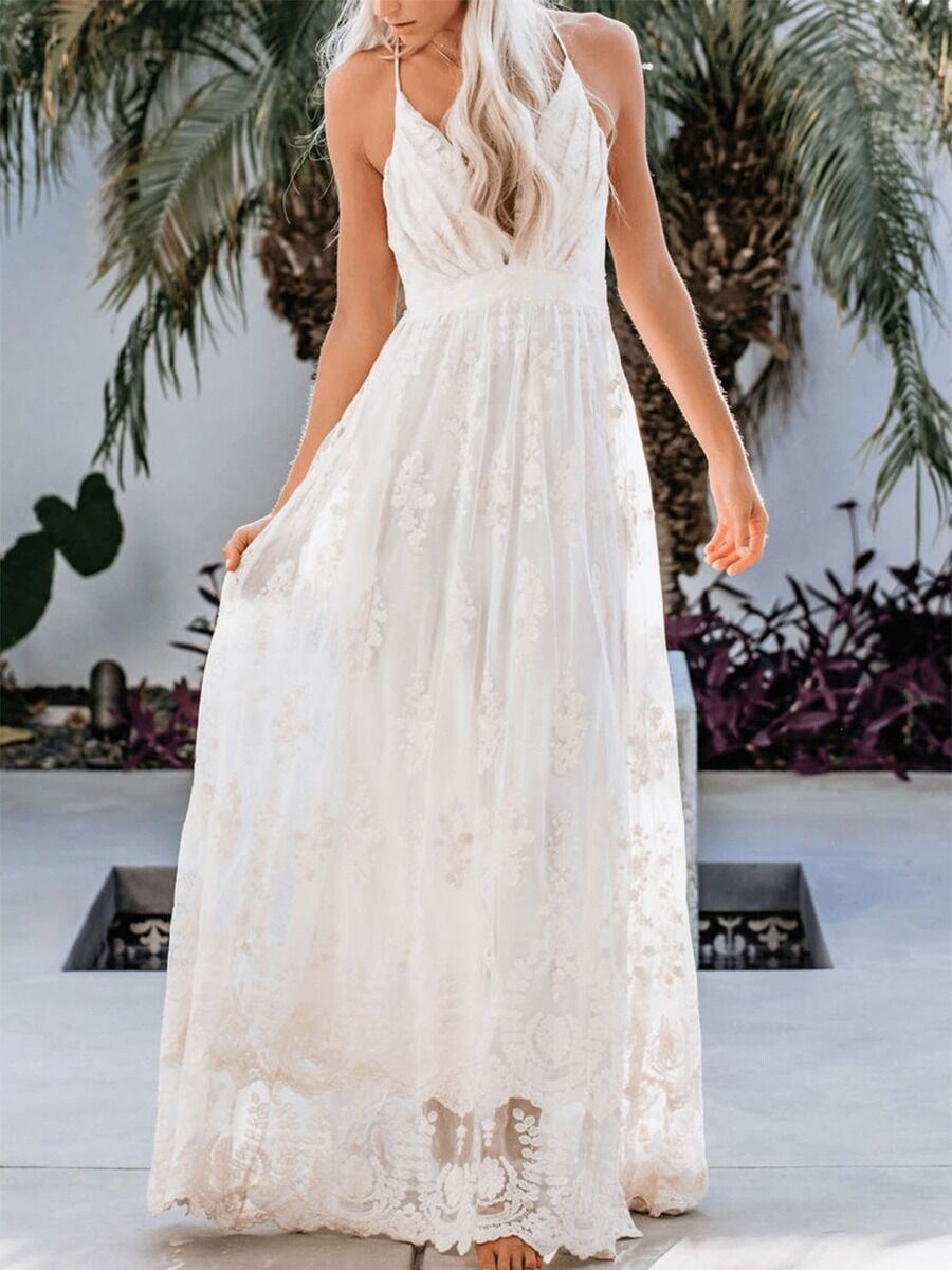 shestar wholesale sexy backless embroidery mesh lace dress
