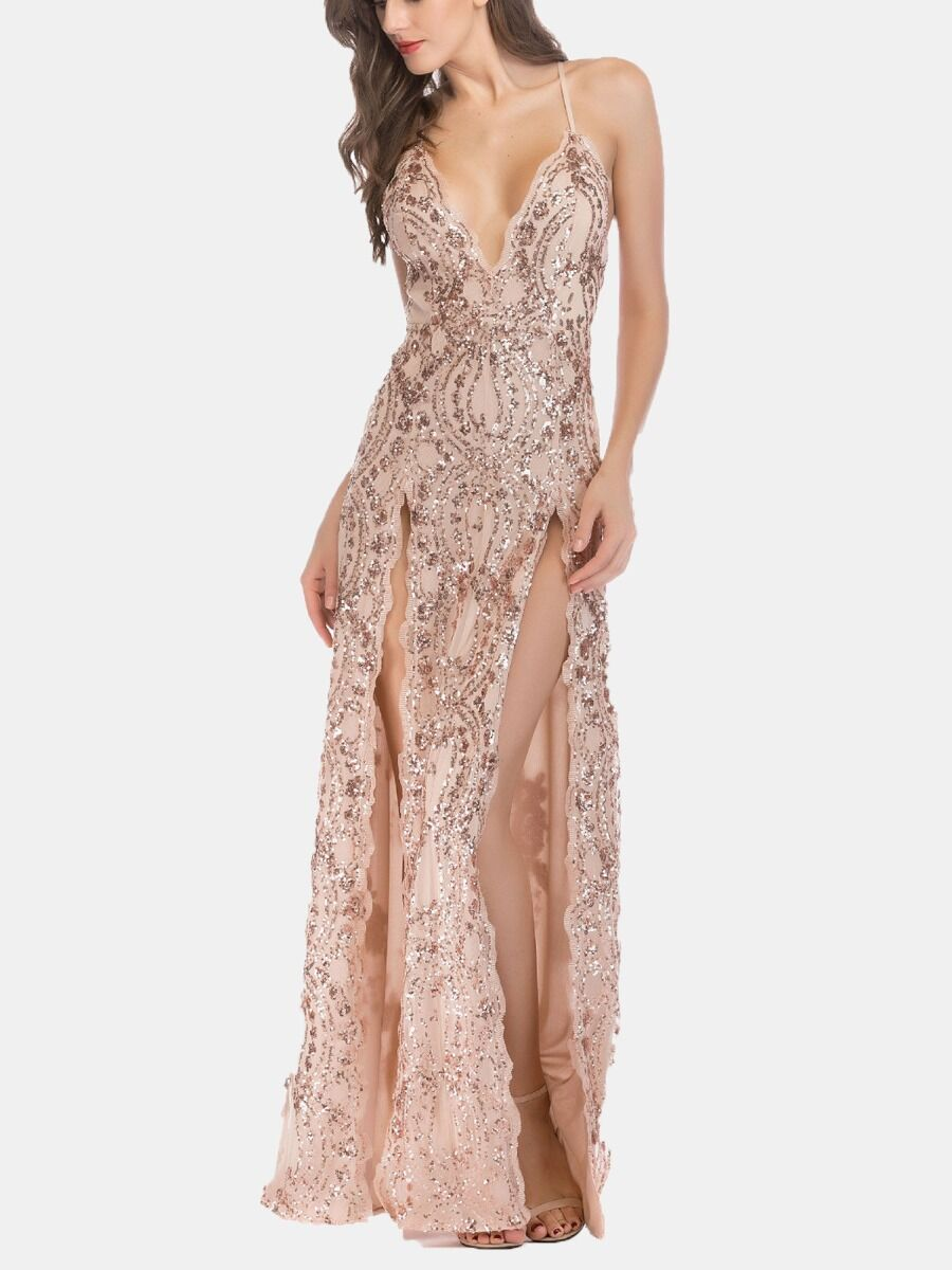 shestar wholesale Suspender Crisscross Split Sequins Dress