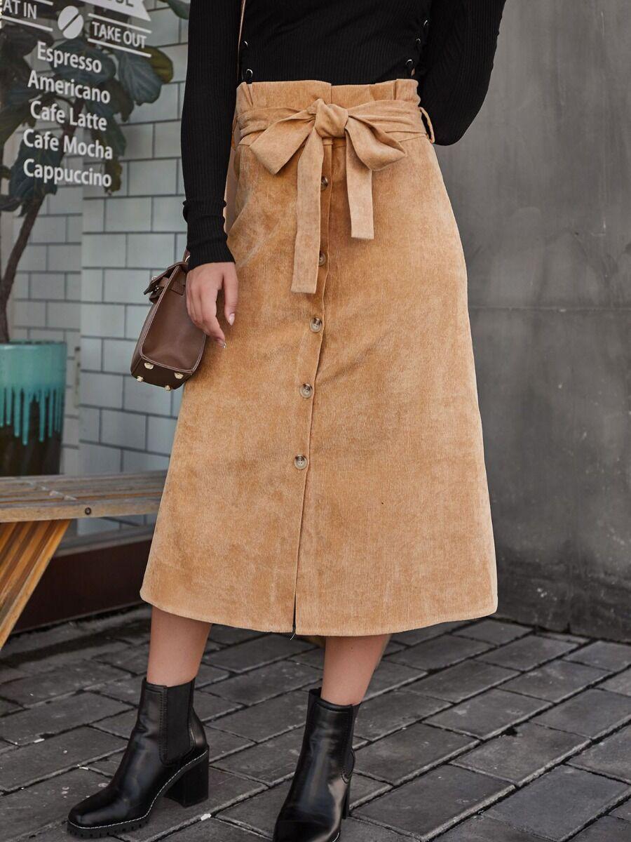 shestar wholesale Belted Waist Botton Front Corduroy Skirt
