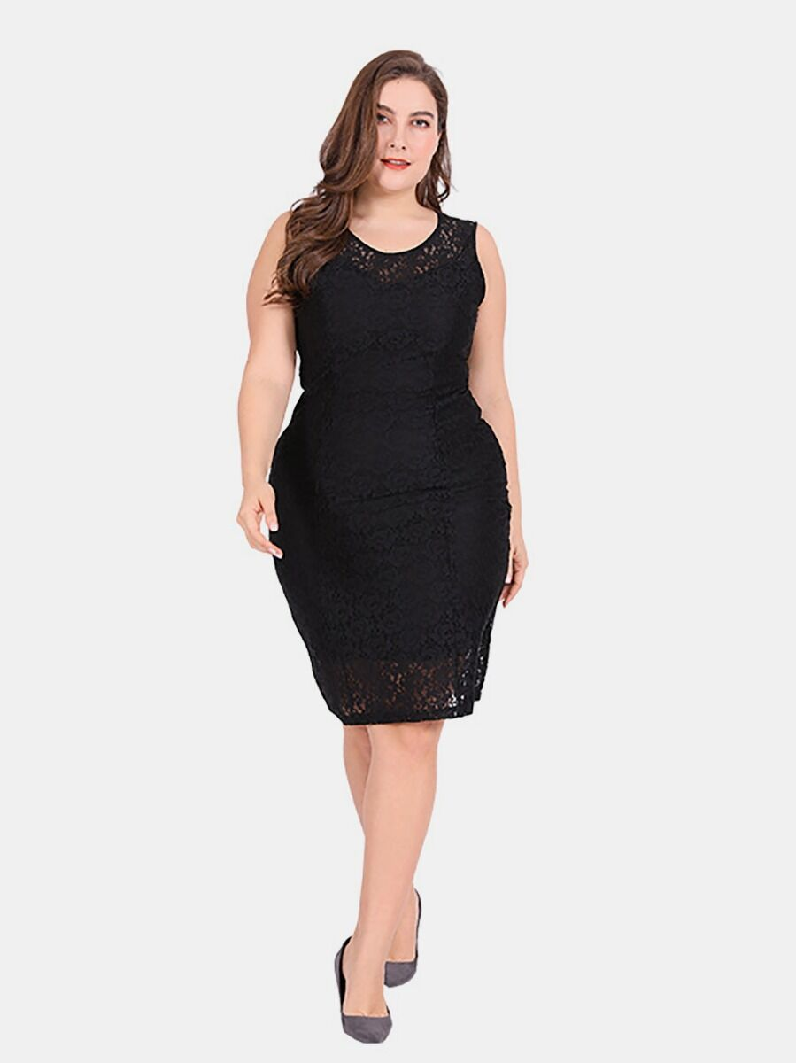 shestar wholesale Plus Size Lace Sheer Bodycon Tank Dress