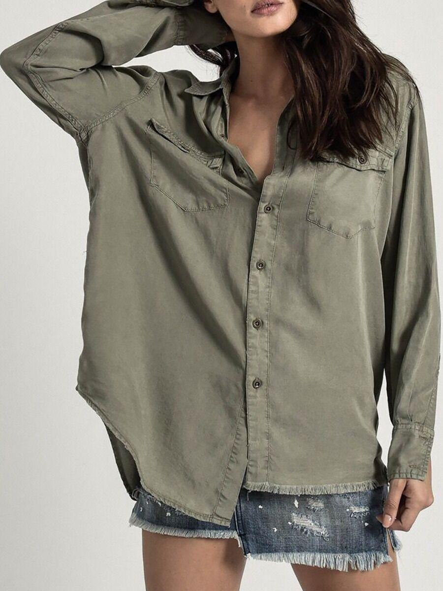 shestar wholesale Casual Button Front Denim Shirt