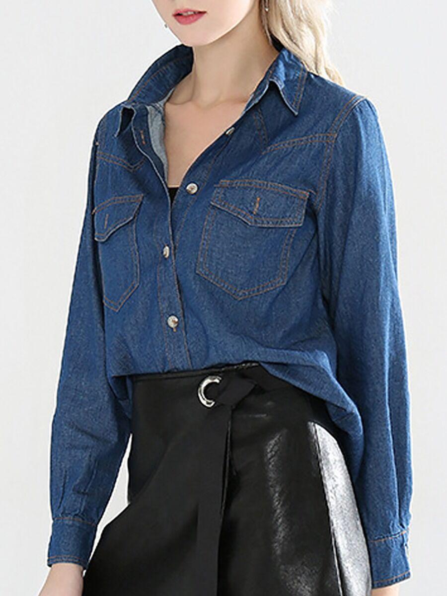 shestar wholesale Casual Double Pocket Front Denim Shirt
