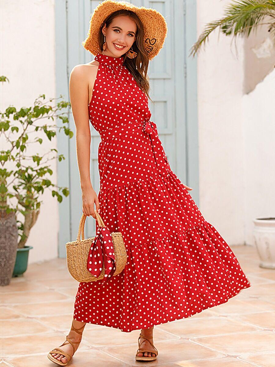 shestar wholesale polka dot print cold shoulder tie waist dress