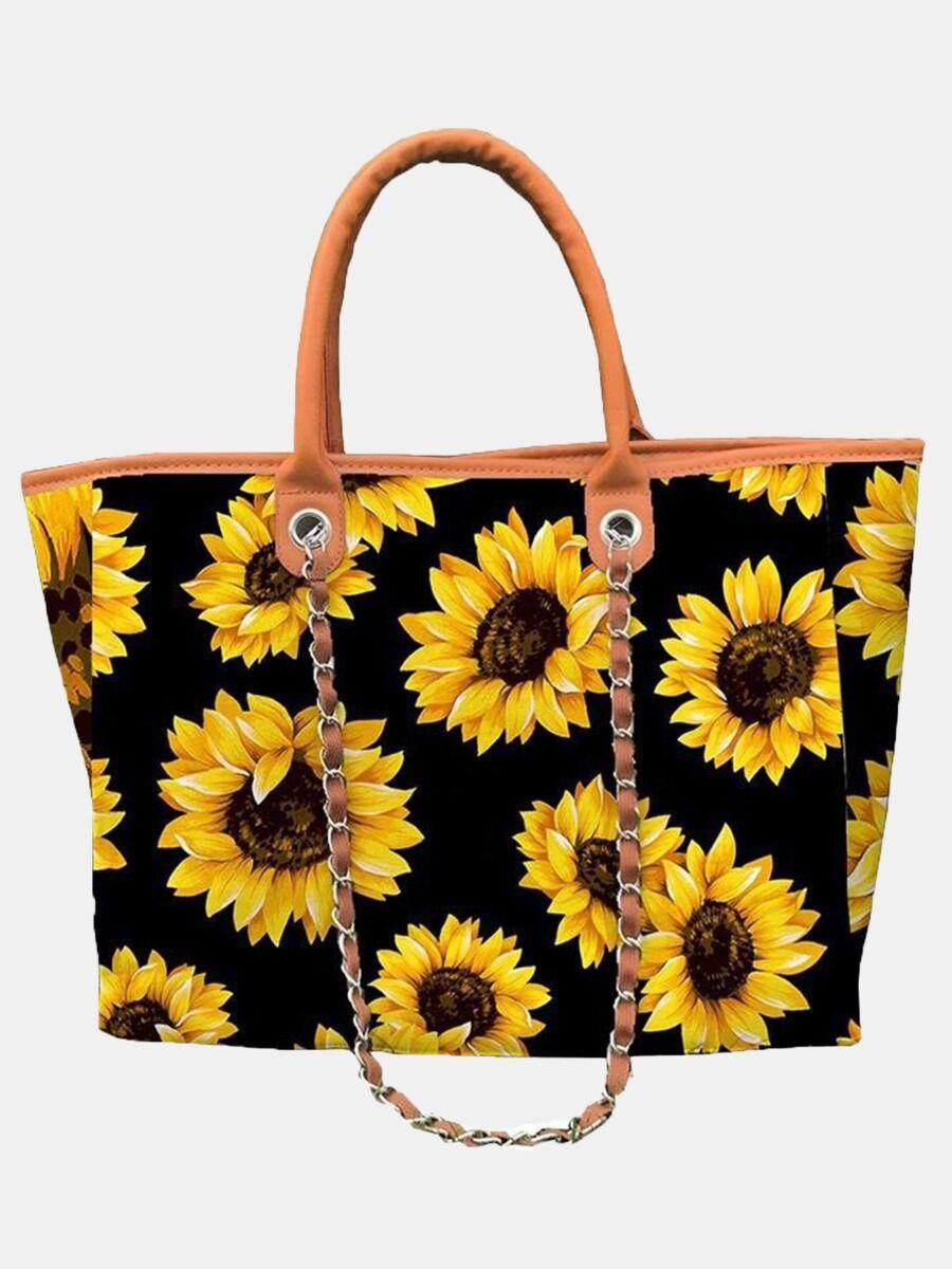 shestar wholesale Sunflower & Cow Print Chain Decor Handbag