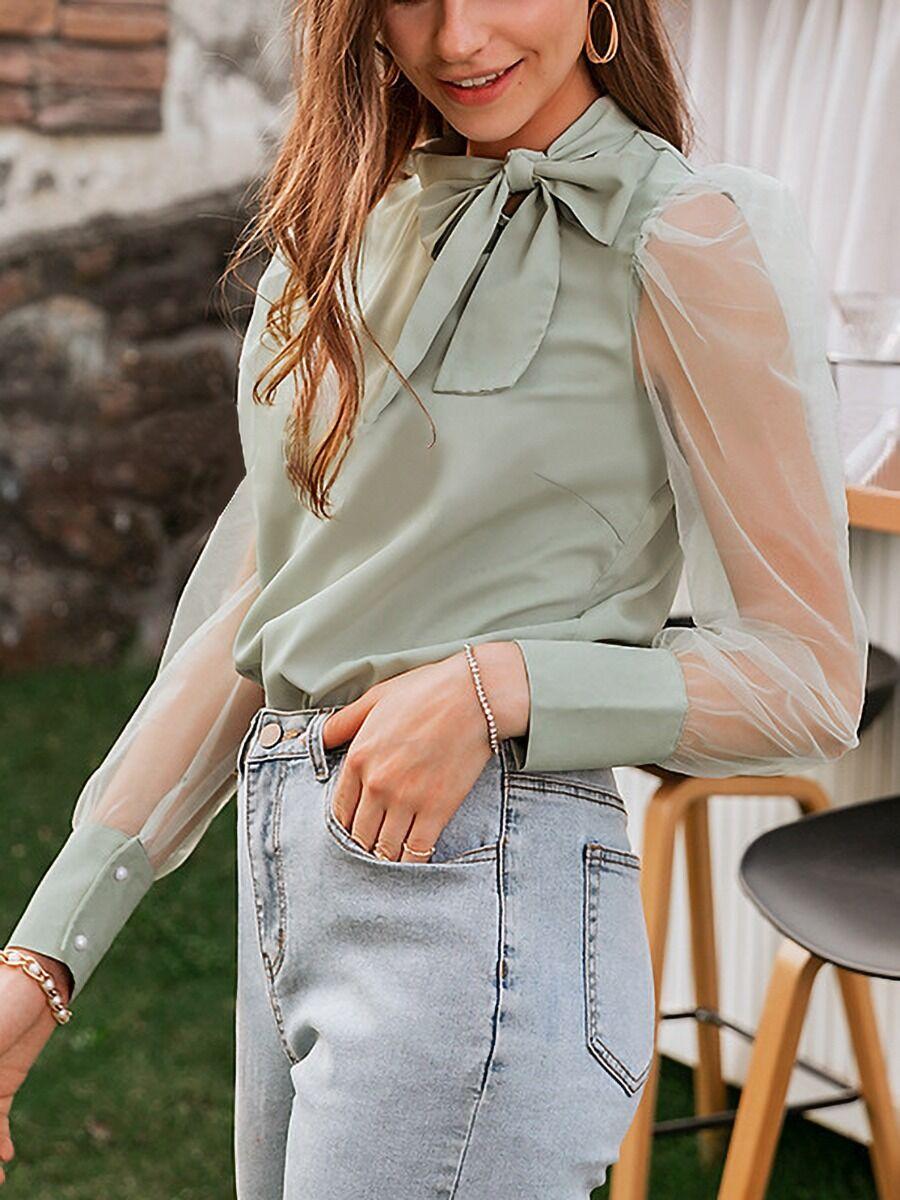 shestar wholesale Sheered Sleeve Surplice Bow Decor Plain Blouse