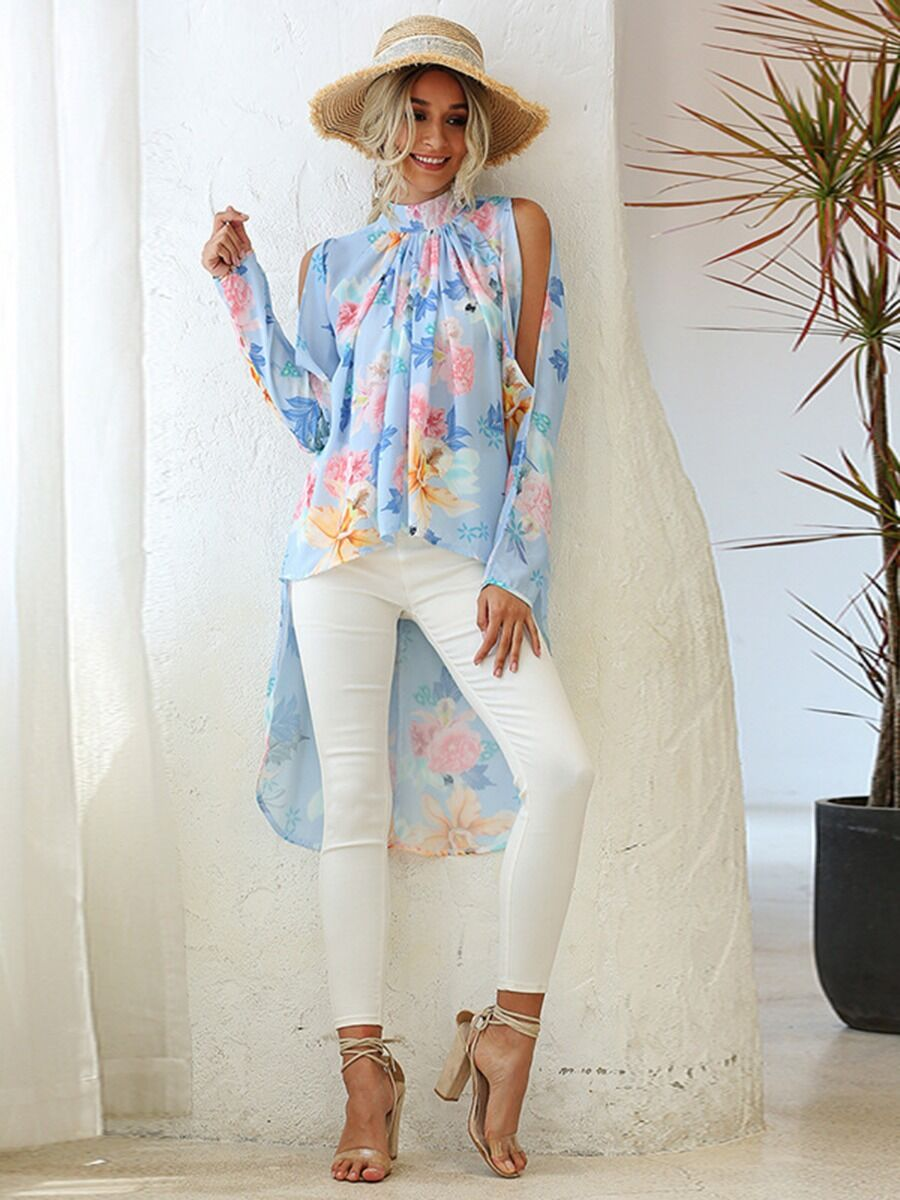 shestar wholesale Split Sleeve Mock Neck Hi-Lo Hem Floral Top
