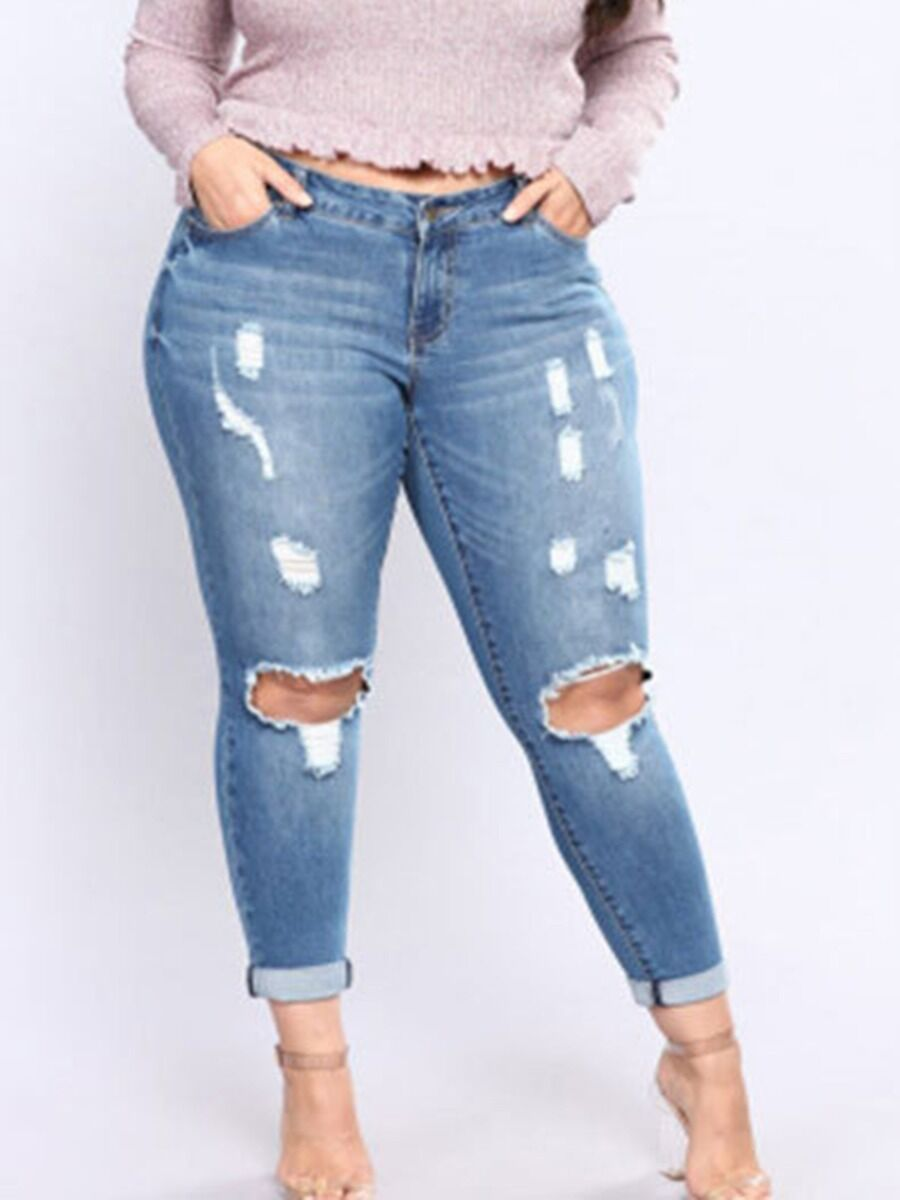 shestar wholesale Plus Size Ripped Cutout Denim Pants