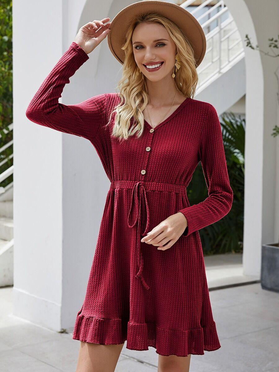 shestar wholesale Solid Color V-neck Ruffle Trim Long Sleeve Dress