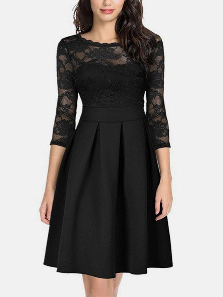 shestar wholesale lace patchwork a-line evening dress