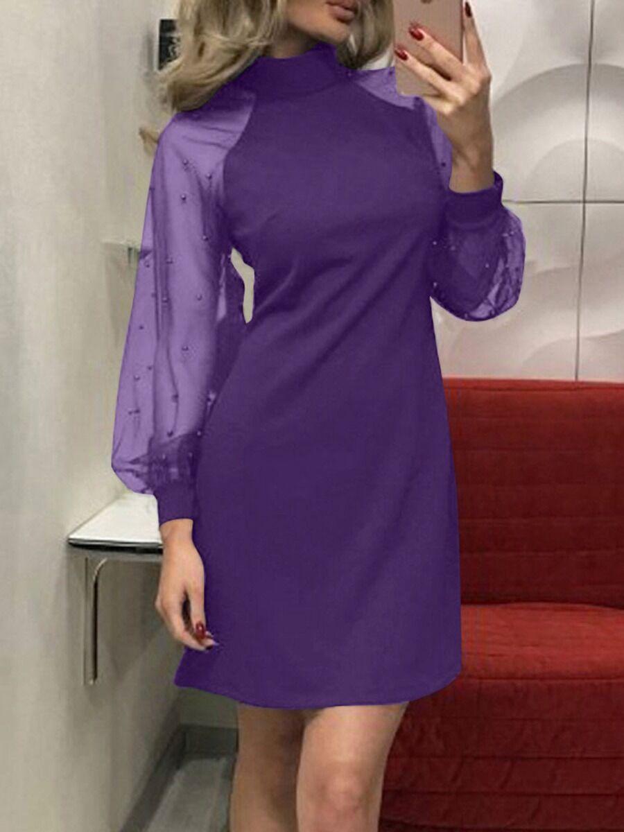 shestar wholesale Polka Dot Mesh Gather Sleeve Mock Slim Fit Patchwork Dress
