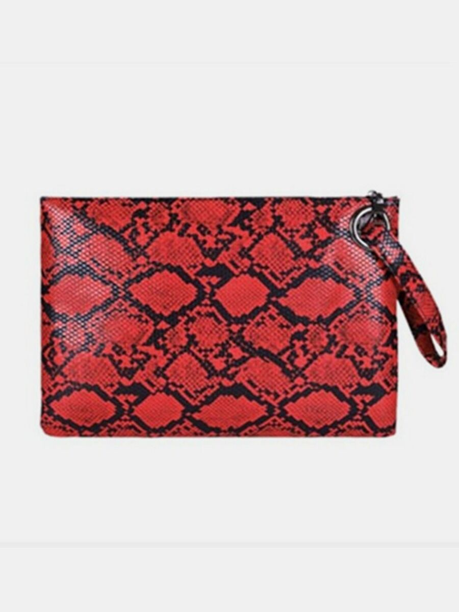 shestar wholesale Simple Snake Skin Print Zip Clutch Bag