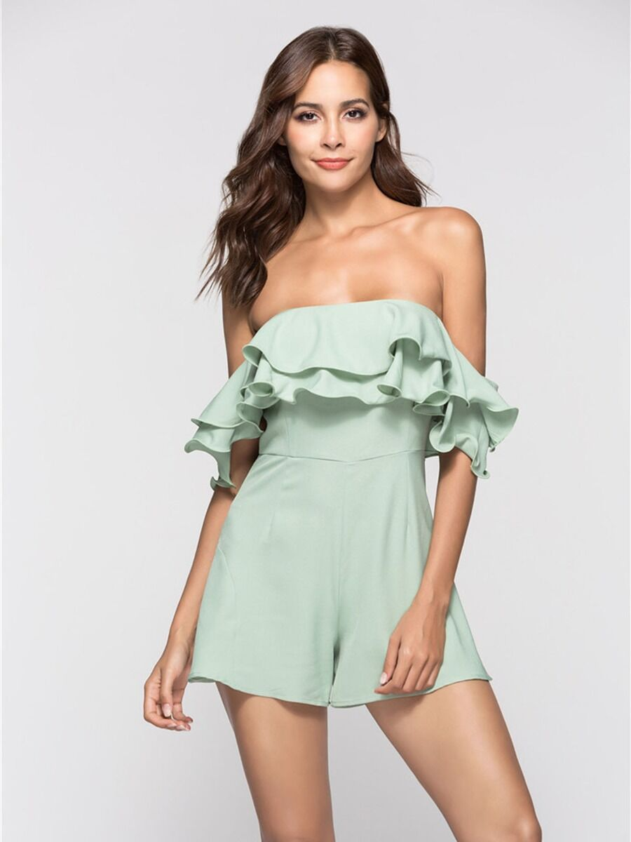 shestar wholesale Layered Ruffle Trim Off Shoulder Sexy Solid Color Chiffon Jumpsuit
