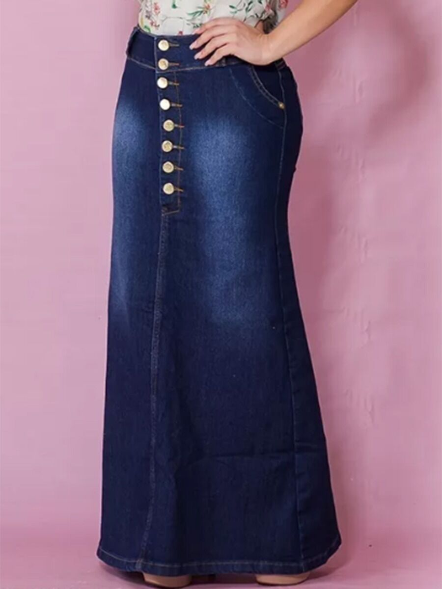 shestar wholesale Button Front Bodycon Split Back Pocket Fishtail Denim Skirt