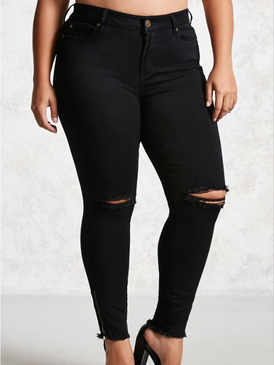 shestar wholesale Plus Size Ripped Raw Zip Hem Black Skinny Jeans