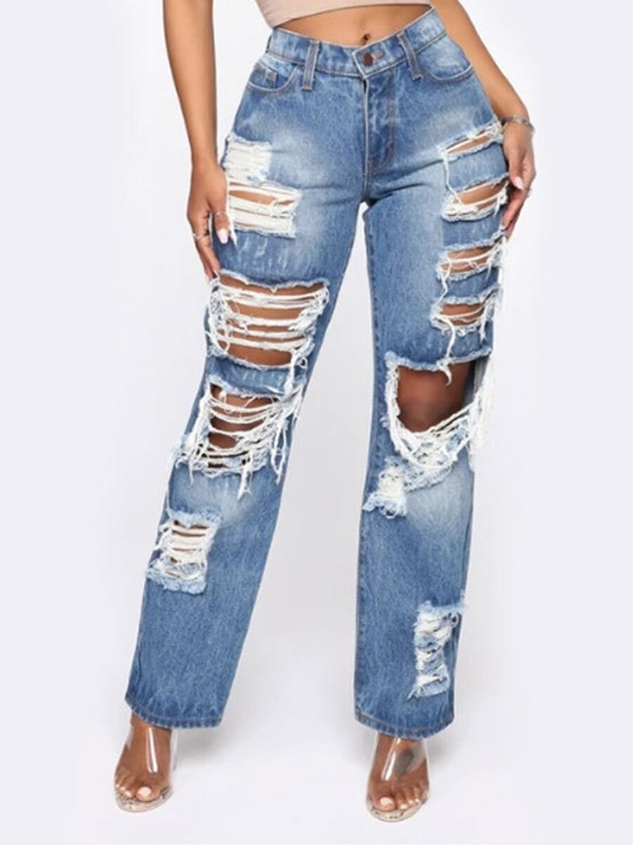 shestar wholesale Plus Size Cutout Ripped Loose Denim Pants
