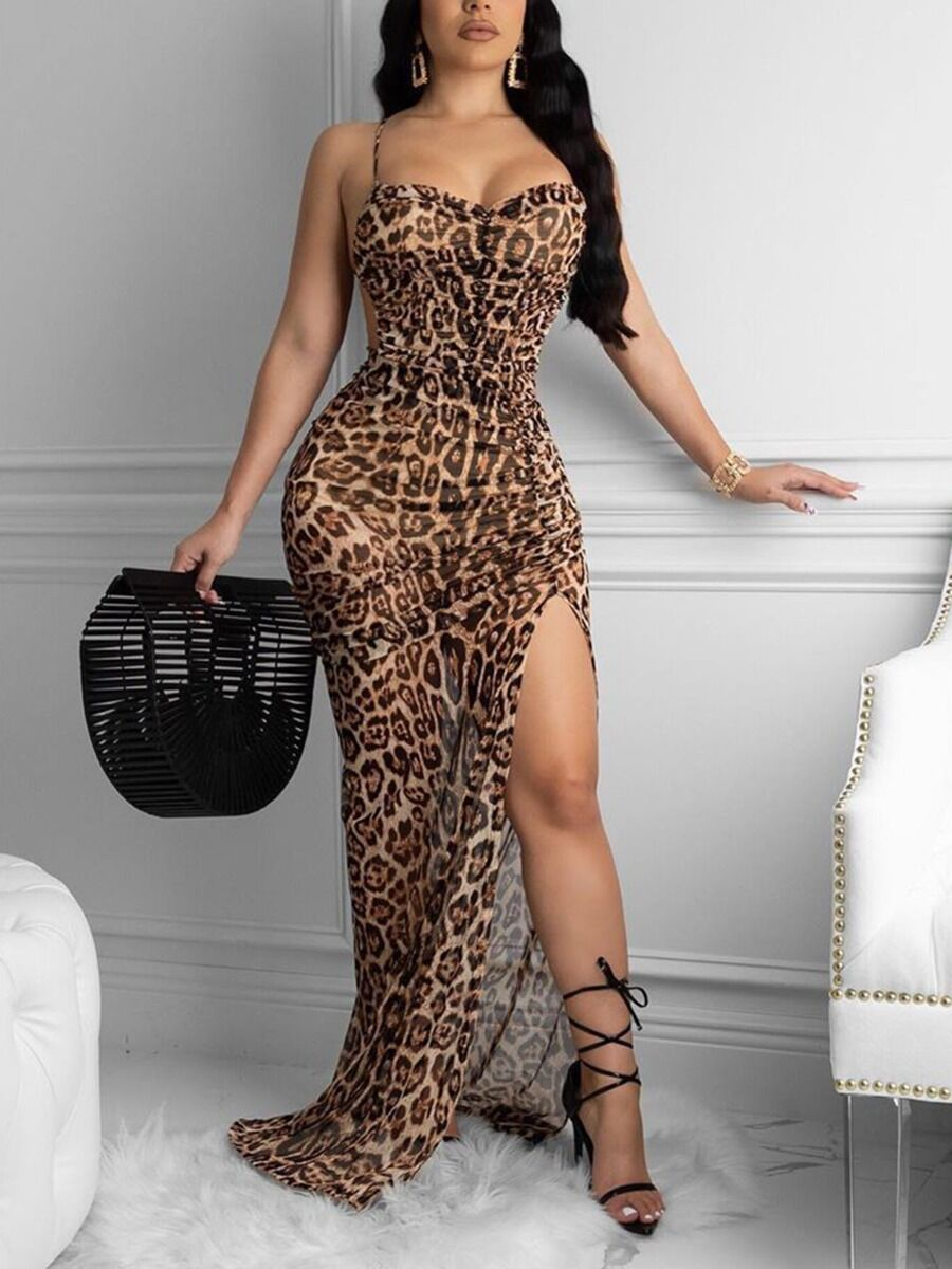 shestar wholesale Sexy Crisscross Back Leopard Split Spaghetti Dress