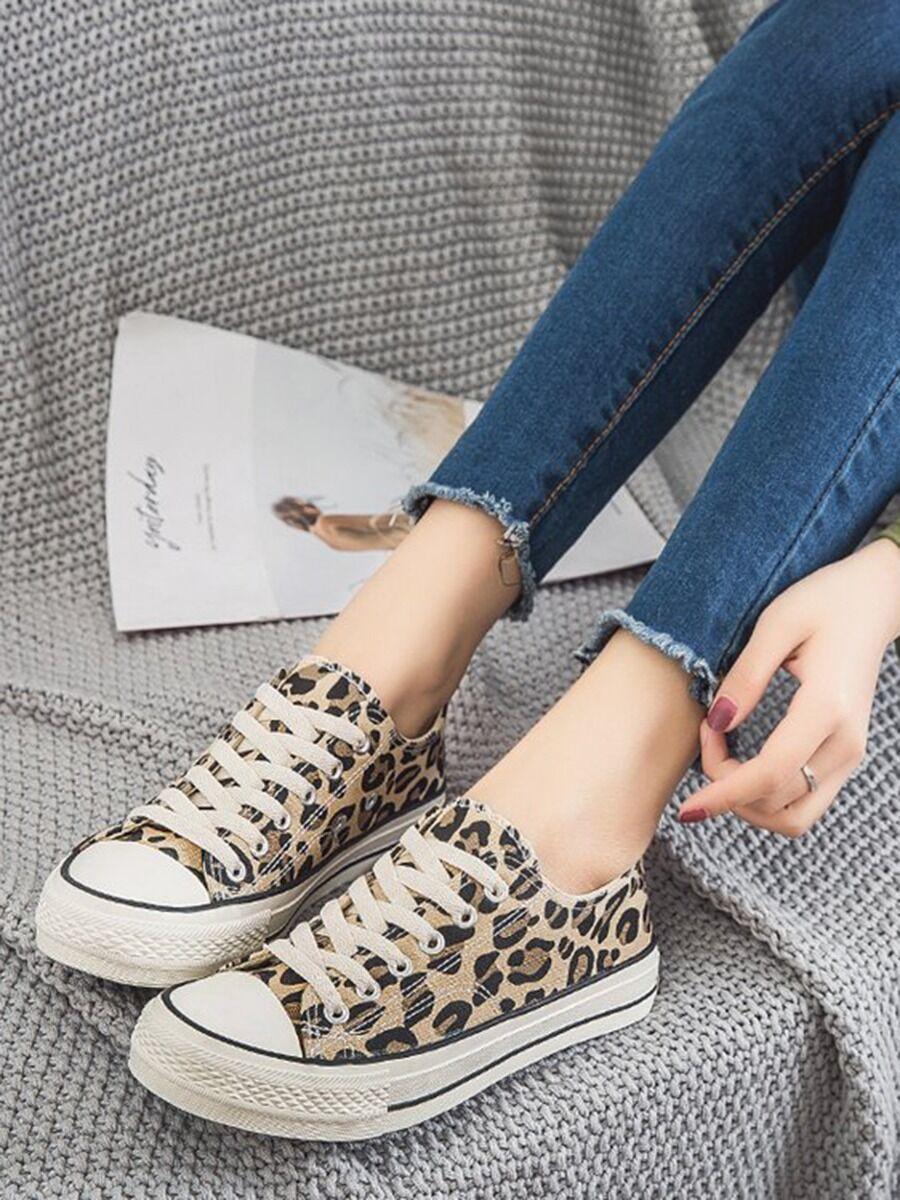 shestar wholesale Women Lace-up Leopard Canvas Shoes