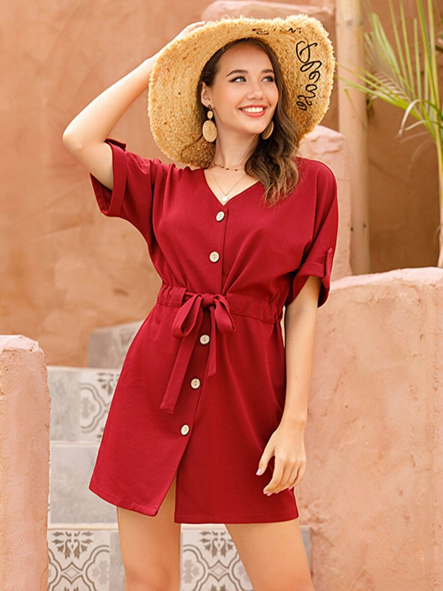 shestar wholesale solid color single breasted drawstring waist dress