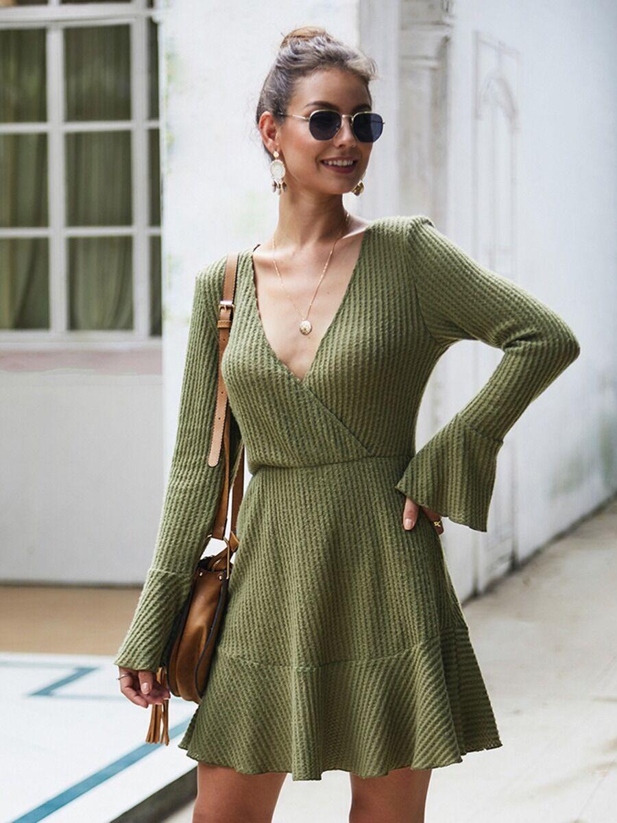 shestar wholesale Sexy Surplice V-collar Flare Long Sleeve Knit Dress
