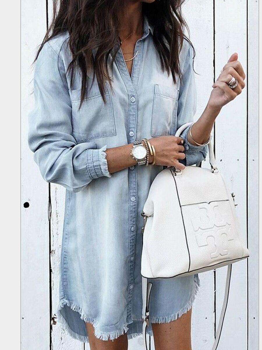 shestar wholesale Fringe Hem Double Pocket Front Mid-length Denim Shirt