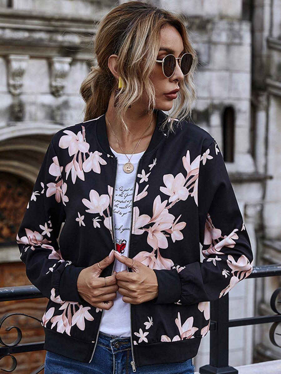 shestar wholesale Stylish Flower Print Zipper Baseball Jacket