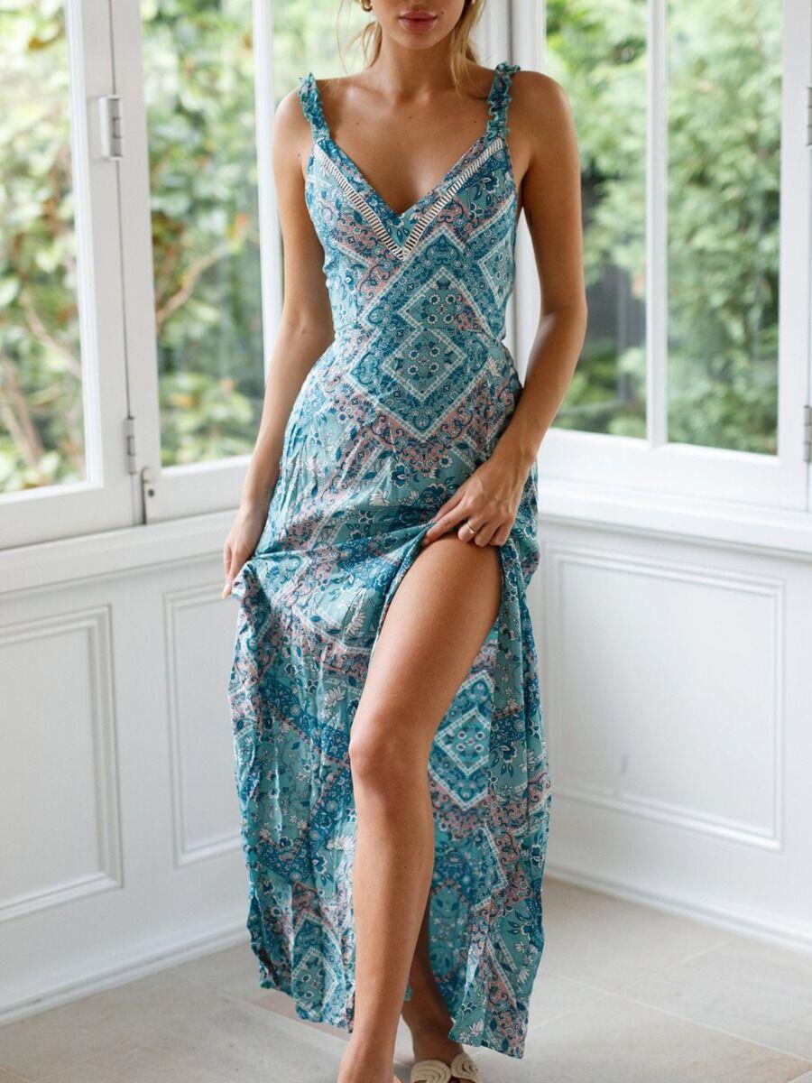 shestar wholesale Sexy V-collar Split Thigh Floral Print Boho Cami Maxi Dress