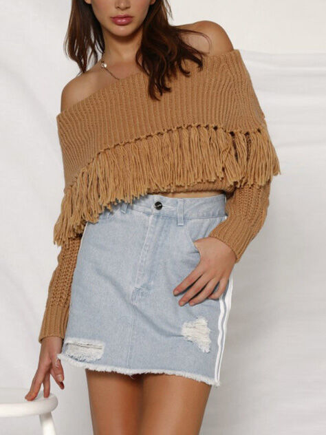 shestar wholesale Off Shoulder Tassel Trim Knitting Sweater