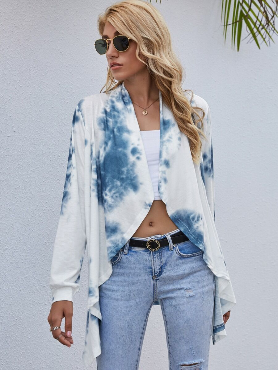 Stylish Tie Dye Casual Cardigan Top