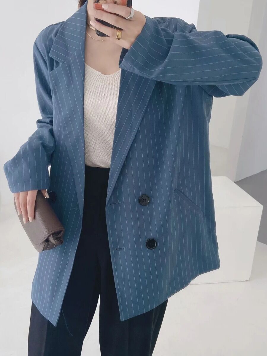 shestar wholesale double breasted striped office blazer suit
