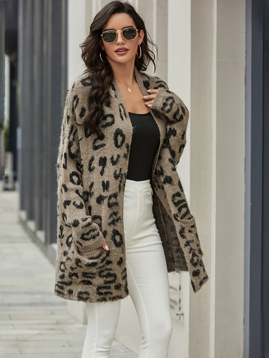 Mid-length Pocket Leopard Knitted Cardigan