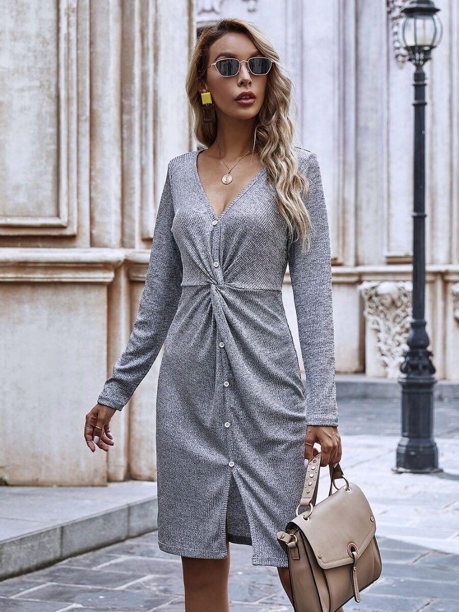 shestar wholesale Twist Waist Split Hem Knitting Dress