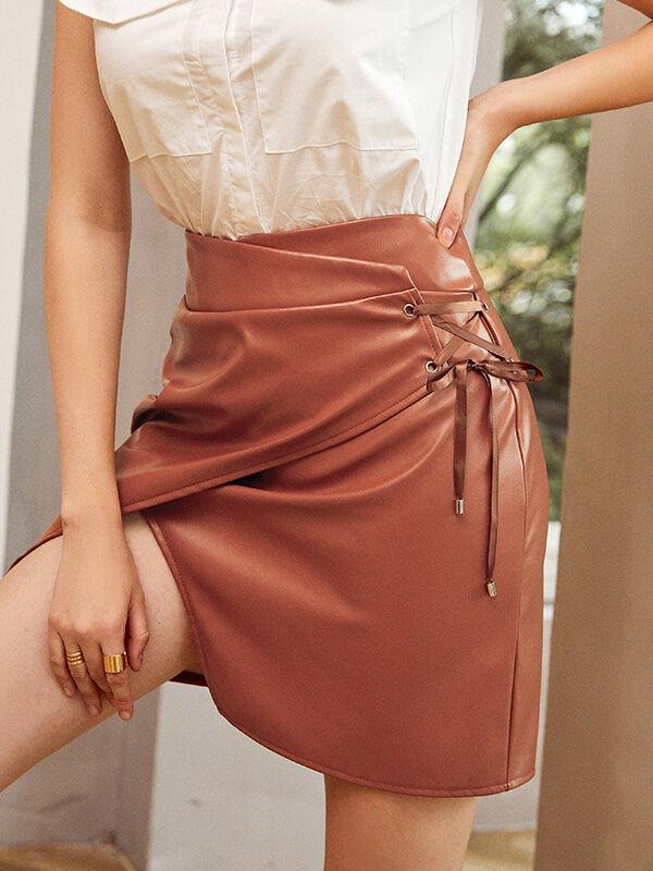 shestar wholesale Lace-up Split Hem Leather Skirt
