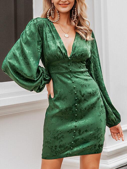 shestar wholesale Sexy V-collar Button Decor Flower Print Dress
