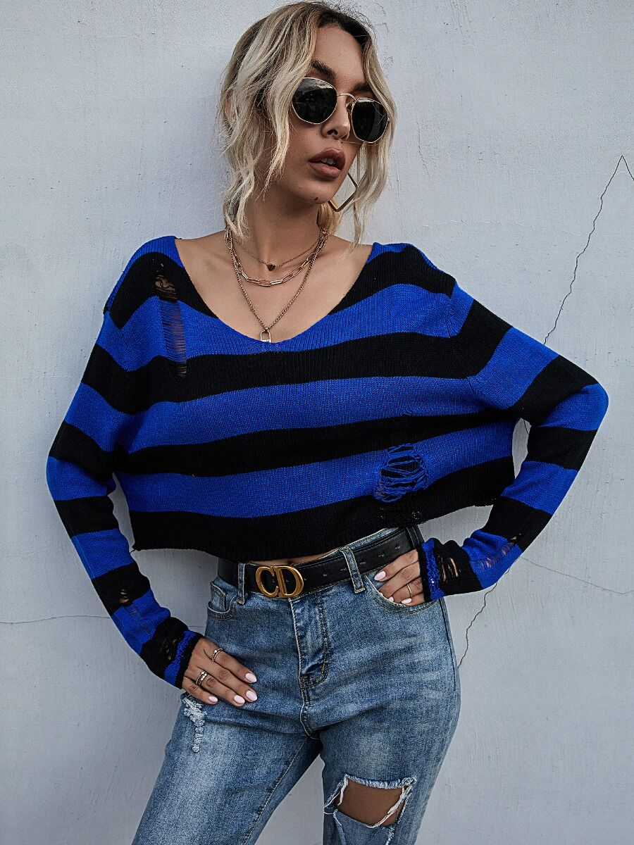 shestar wholesale Hit Color Ripped Stripe Knit Sweater