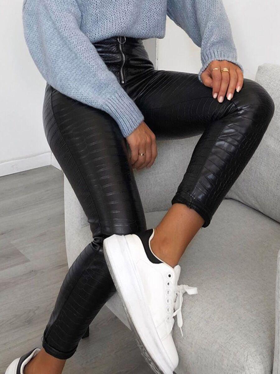 shestar wholesale Crocodile Skin Zipper Leather Leggings